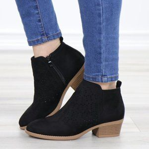 Black Suede Ankle Boots Laser Cut Design